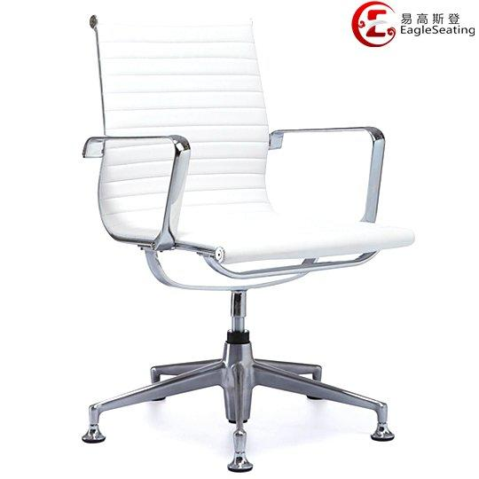 0517D-1H white leather visitor chair