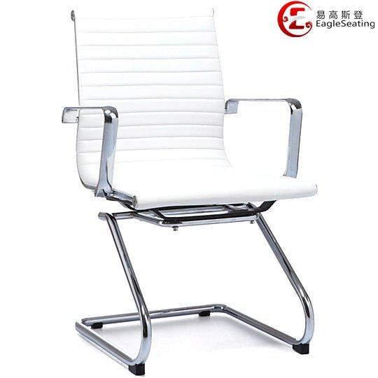 0517E-5H white leather conference chair